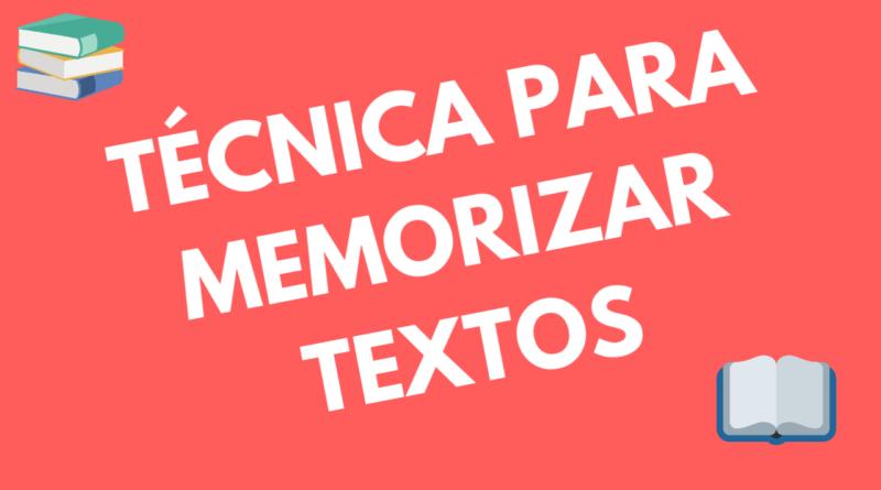 tecnica para memorizar textos